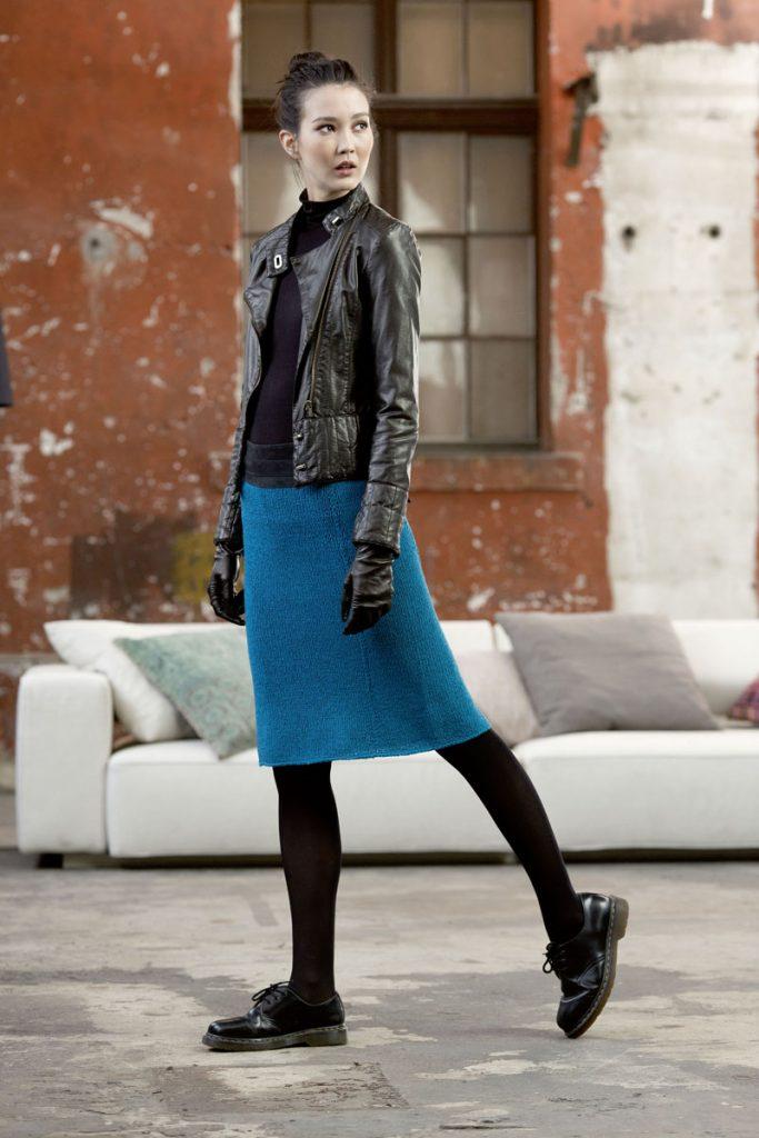 jupe bleue tricot