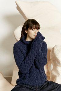 pull femme bleu denim