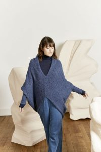 pull lang yarns femme bleu