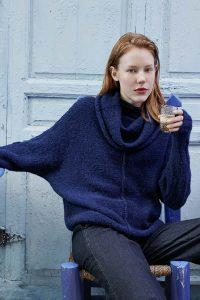 bleu pull femme tricot