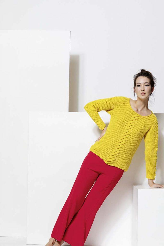pull jaune cachemire