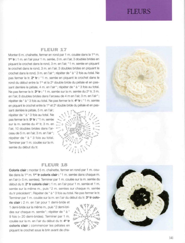 fleurs à relief au crochet