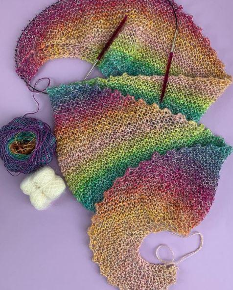 Châle tricoté coton et mohair