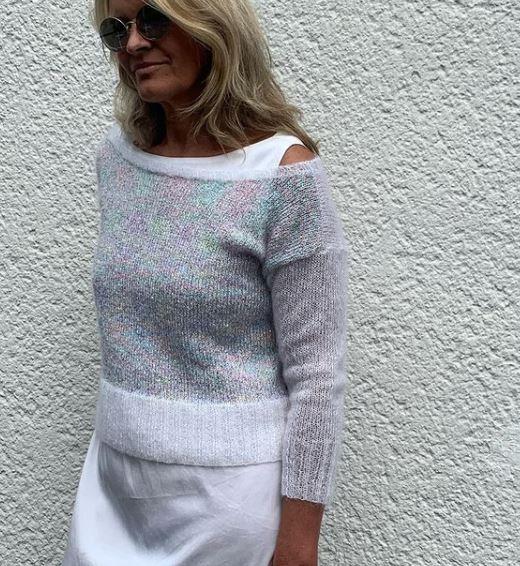 Pull tricoté en mohair et soie et paillettes