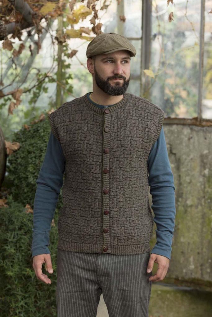 tricoter un gilet homme sans manches