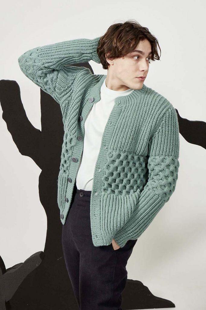tricoter un gilet en laine homme