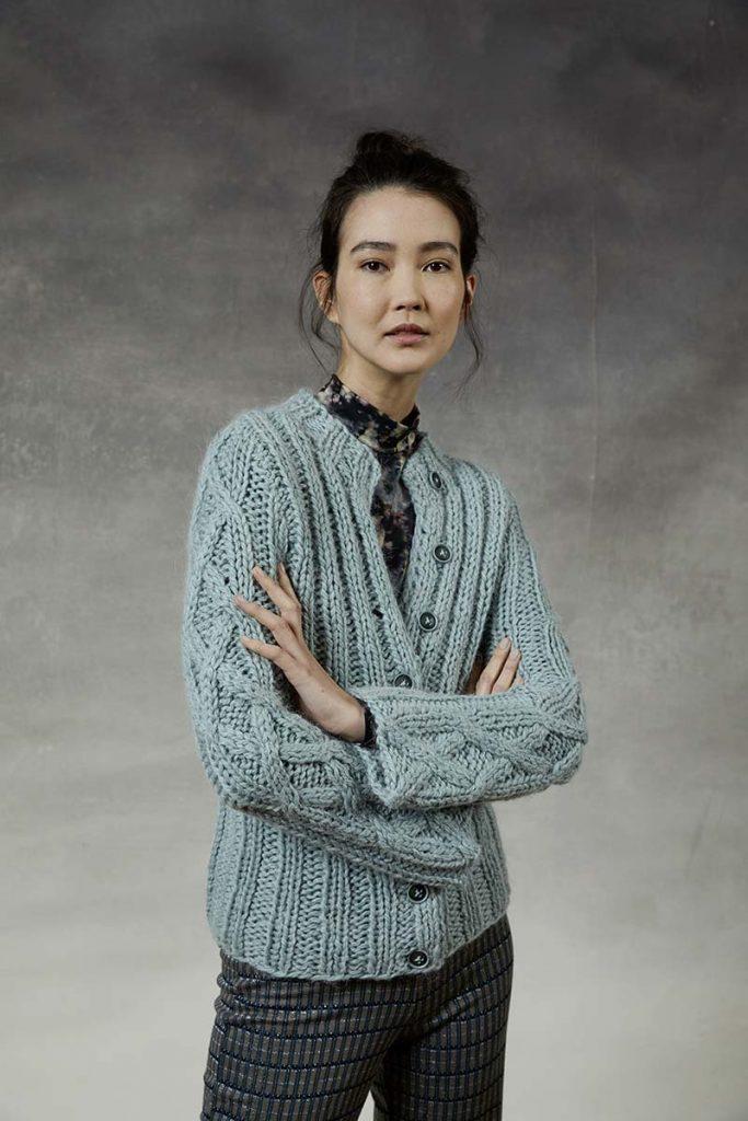 tricoter un gilet femme laine épaisse