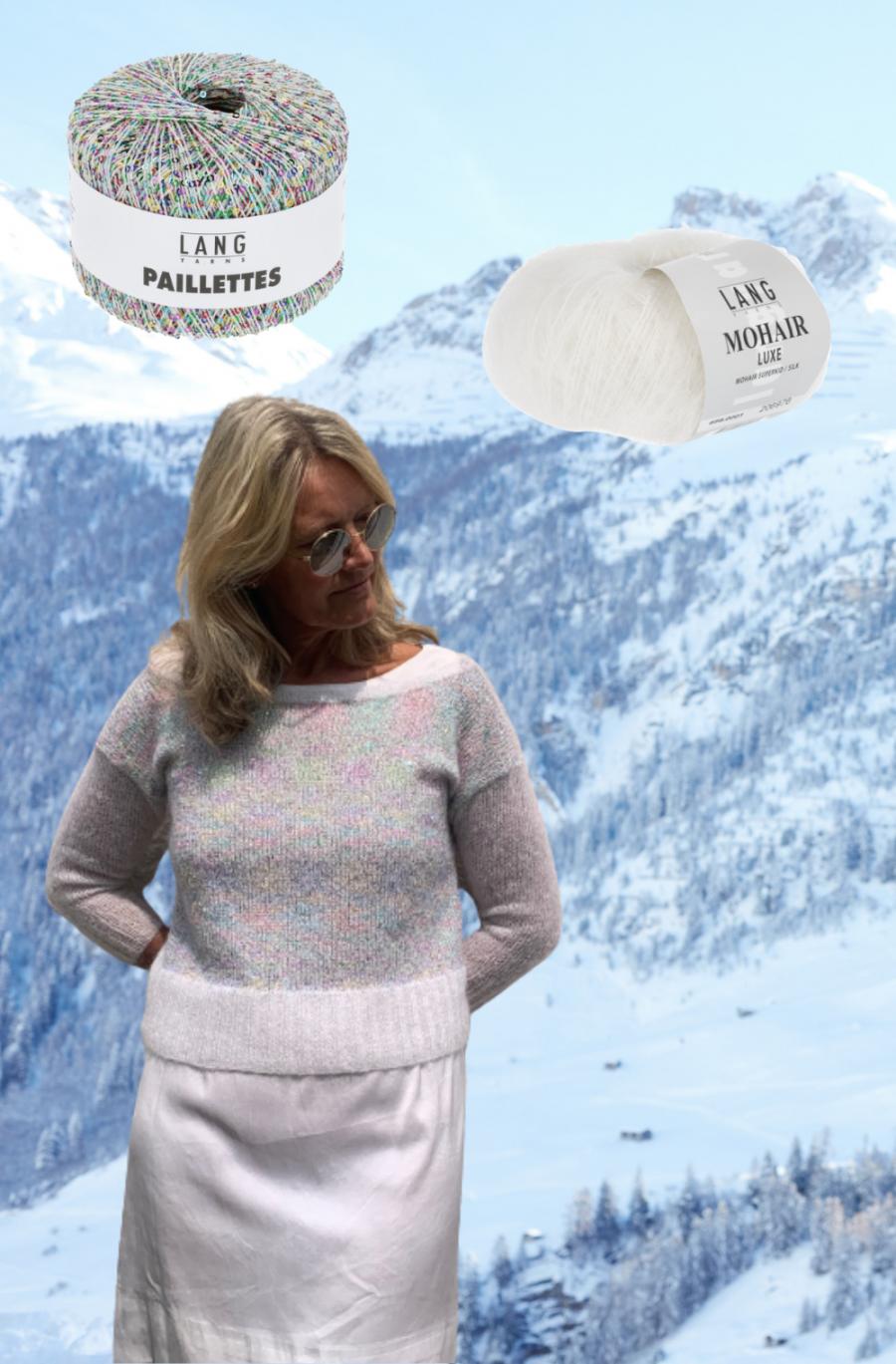 pull en laine mohair et soie Mohair Luxe et Paillettes Lang Yarns